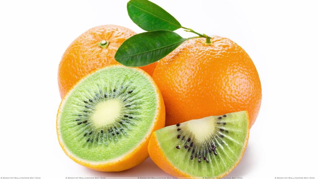 Kiwi Orange On White Background